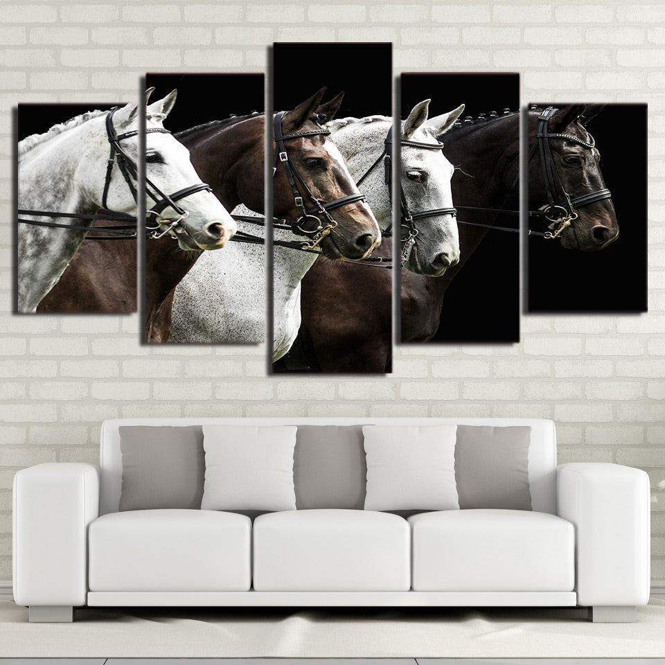 5 Piece HD Print Black And Brown Horse Race Posters and Prints Canvas