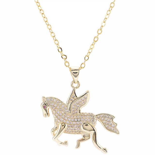 Child's Fairy Tale Pegasus Winged Horse Running Crystal Necklaces