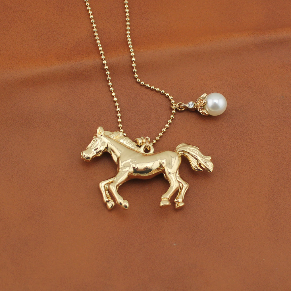 Gold Horse Long With Pearl Necklaces