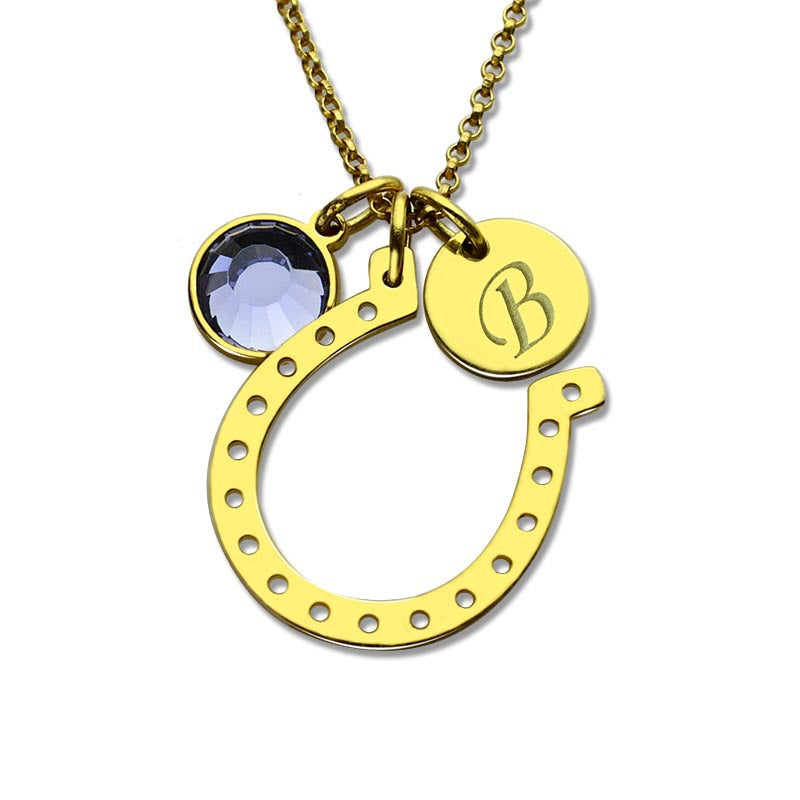 Personalized Initial Horseshoe Gold Color Birthstone With Engraved Initial Disc Lucky Necklaces
