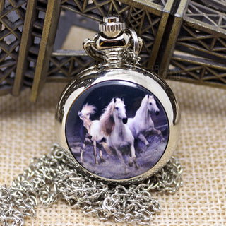 Third White Horse Running Quartz Pocket Watch Necklaces