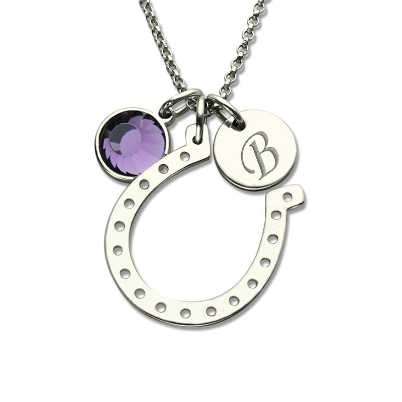 Birthstone Lucky Horseshoe With Engraved Initial Disc In Sterling Silver Personalized Necklaces