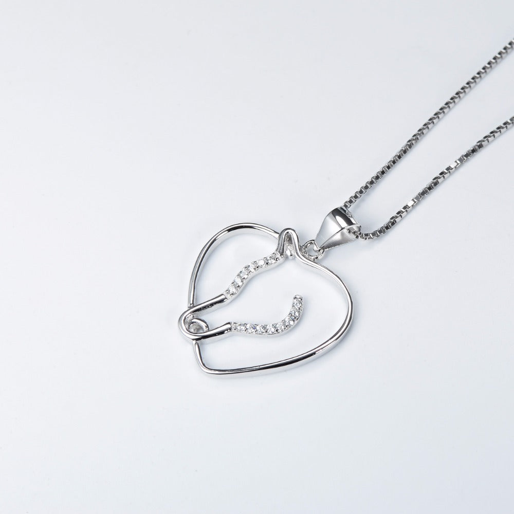 Silver Love Heart Horse Head Hollow Necklaces