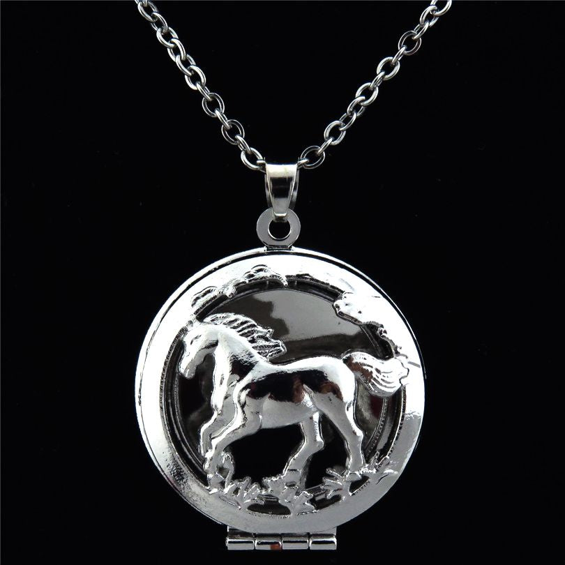Running Horse Locket Aromatherapy Essential Oil Diffuser Stainless Steel Necklaces