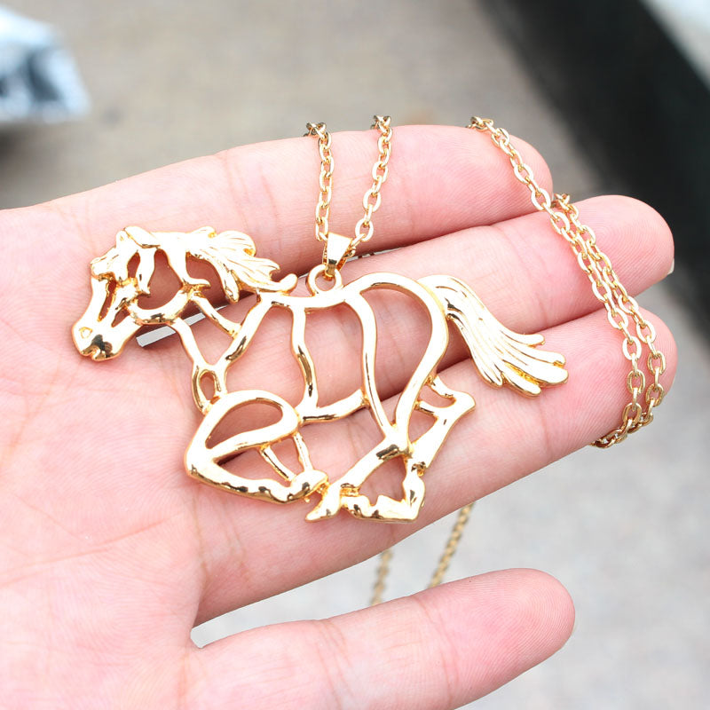 Running Big KC Gold Colors Horse Necklaces