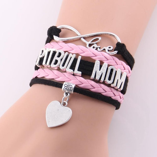 Infinity Love Pit Bull Mom Dog Paw Leather Bracelets