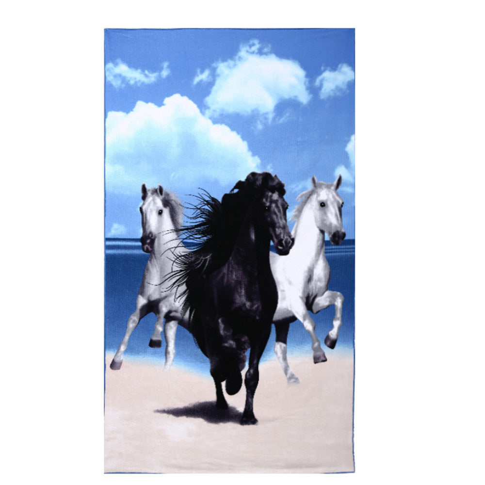 Cartoon Beach Horse Printing Towels