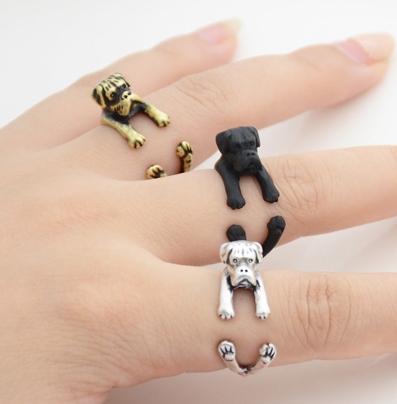 Vintage 3D Boxer Dog Rings
