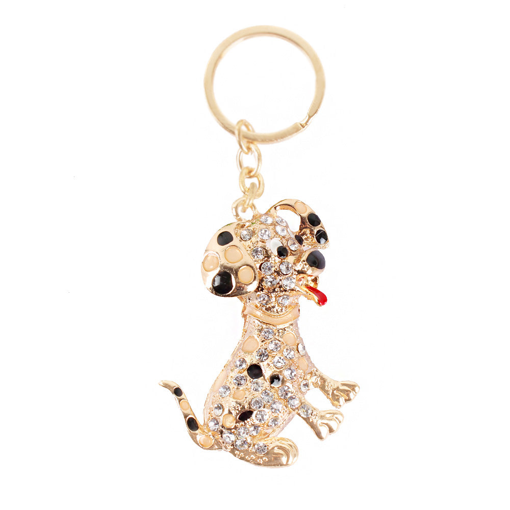 Cute Gold Dog Crystal Keychains