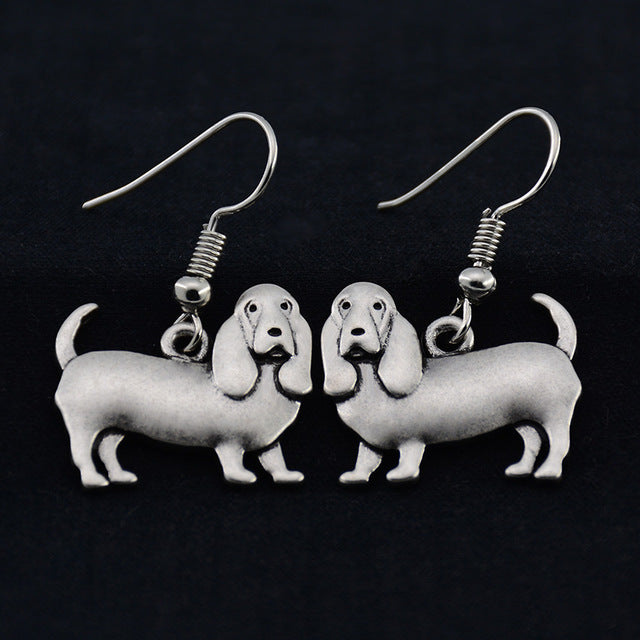 Antique Silver Plated Basset Hound Dog Earrings