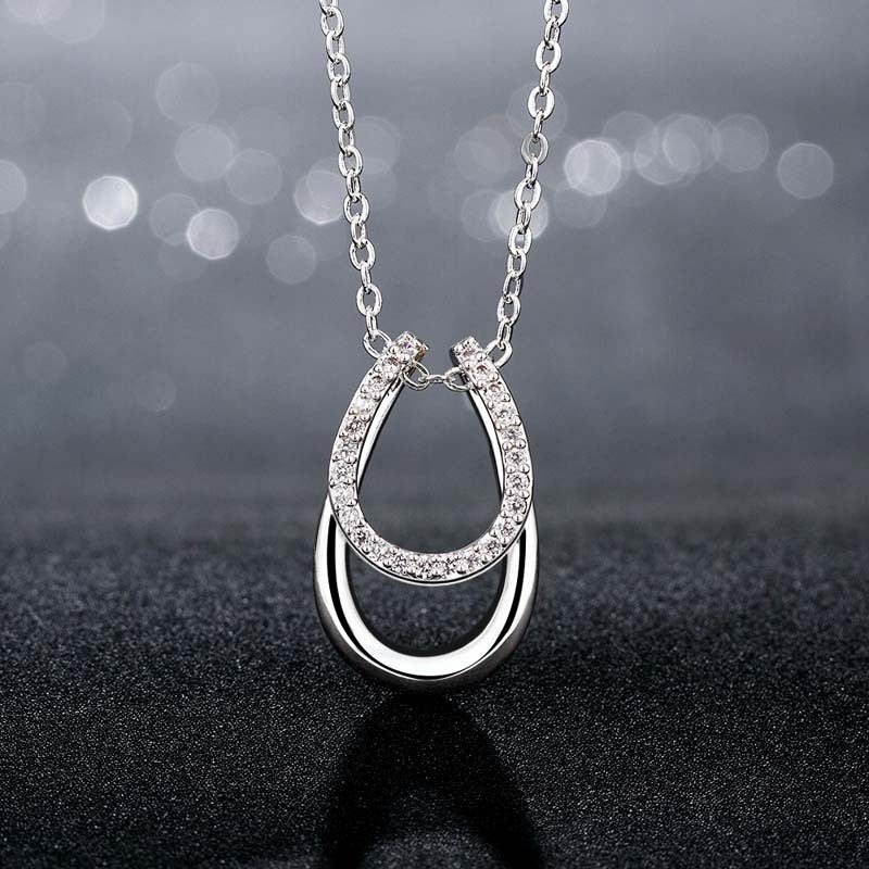 Lucky Rhinestone Double Horse Hoof Necklaces