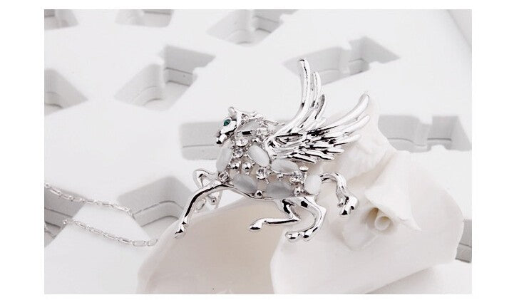 Rhinestone Crystal Short Winged Horse Opal Necklaces