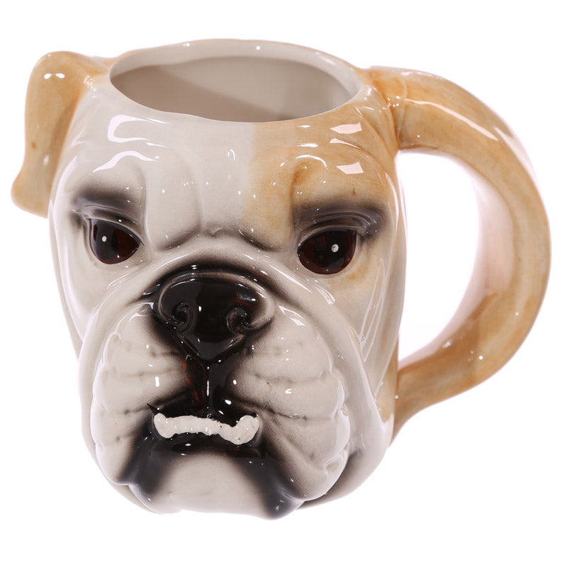 1Piece  3D Pug Head Ceramic Coffee Cup Bulldog Head Drinking Mugs