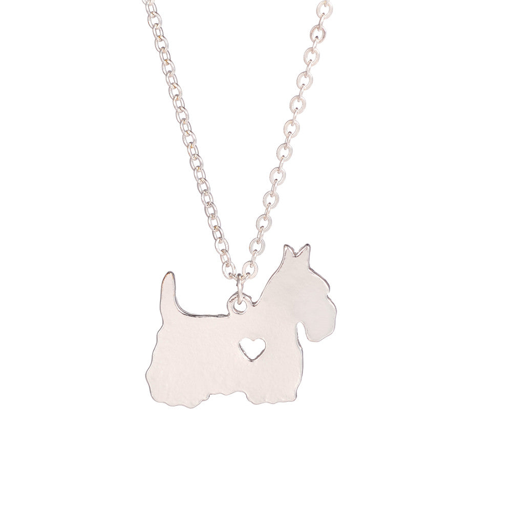 Cute Scottish Terrier Dog Heart Necklaces