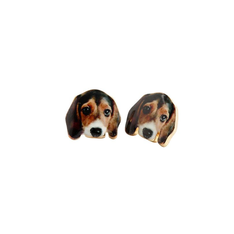 Lovely Gold Beagle Dog Earrings