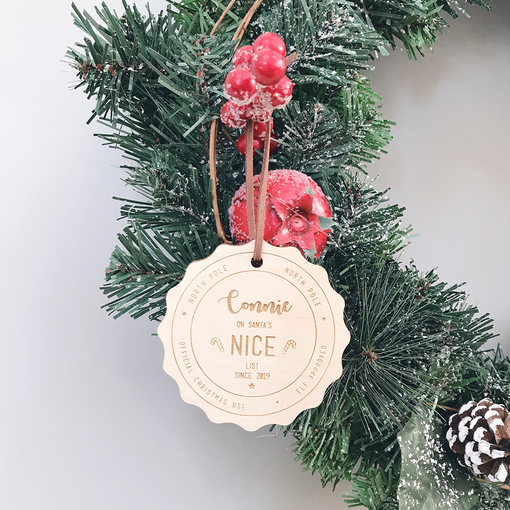 Personalised Nice List Bauble