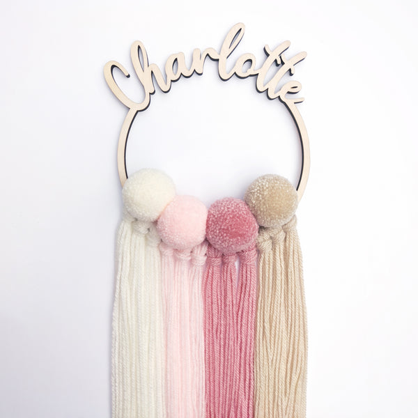 Medium personalised pom wall hanging