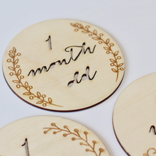 Beautiful laser cut poplar plywood milestone cards for a baby. A perfect gift that can be personalised.