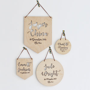 Lasercut birth plaque for newborns, babies and baby boys and girls. Made from poplar plywood. Contains the name, date of birth and weight laser cut from the wood. The perfect gift for anyone.