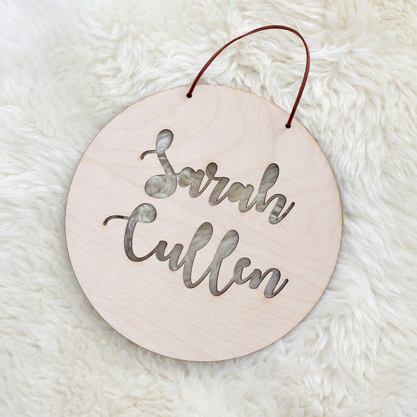 Beautiful laser cut poplar plywood name plaque. A perfect gift that can be personalised.
