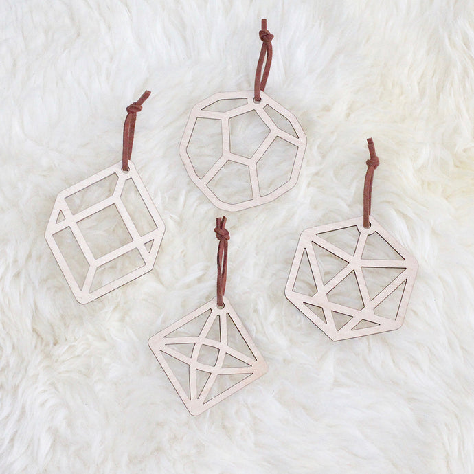 Four Geometric Christmas Decorations