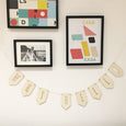 Make a saying of your choice with this laser cut plywood letter flag bunting. Large wooden bunting.