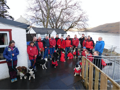 Search and Rescue Dog Association Scotland Training wearing Dog Dry Robes from Dogrobes