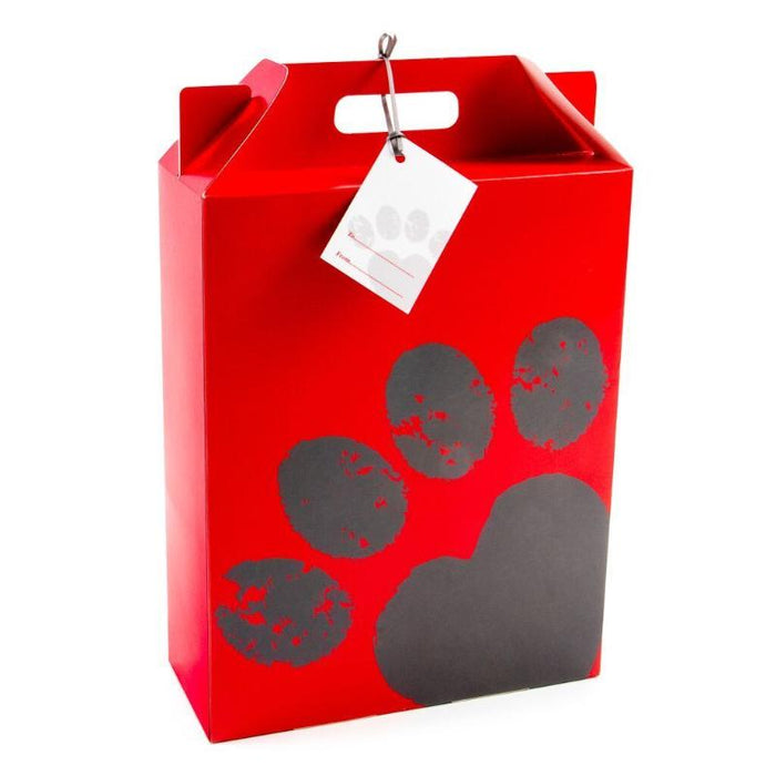 Red And Grey Paw Print Gift Box With Matching Gift Tag