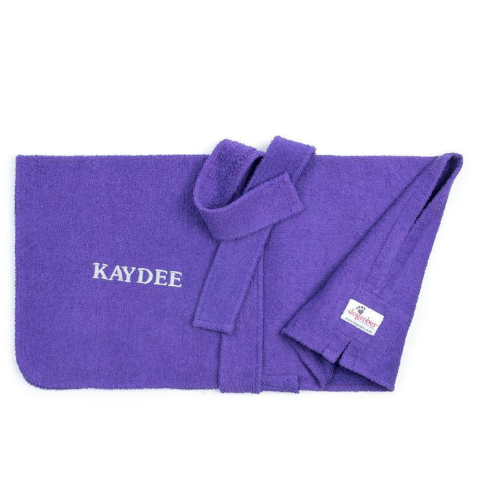 Front View of Personalised Purple Dogrobe