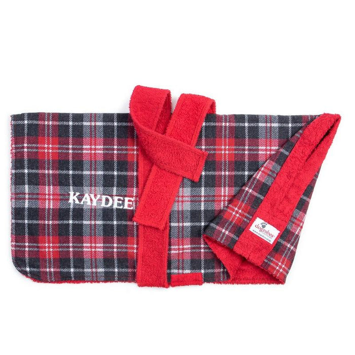 Flat Lay Of Tartan Dogrobe Showing Personalisation