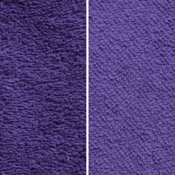 Side By Side Image Of Front And Back Of Purple Fabric Showing Longer Loops On Inside