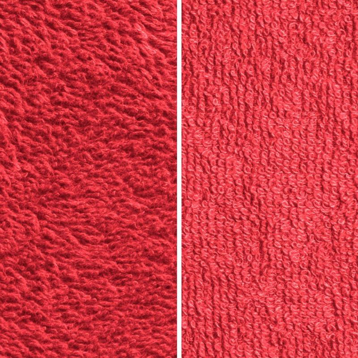 Side By Side Image Of Front And Back Of Red Fabric Showing Longer Loops On Inside