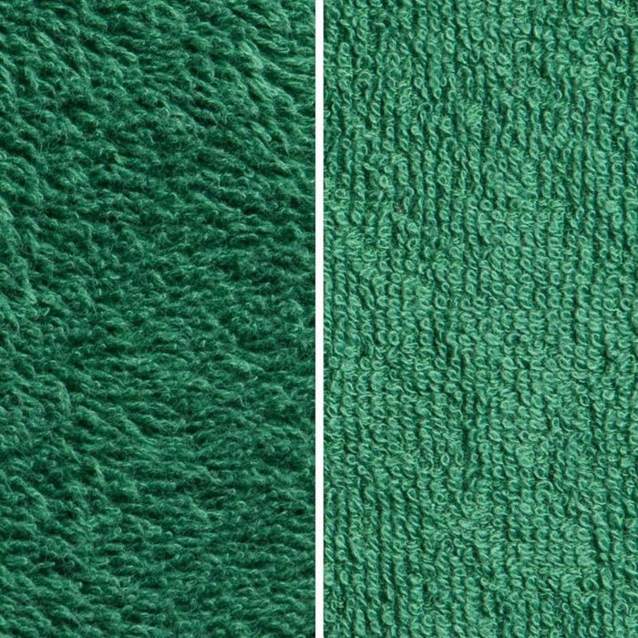 Side By Side Image Of Front And Back Of Green Fabric Showing Longer Loops On Inside