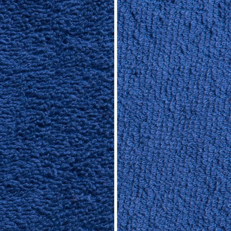 Side By Side Image Of Front And Back Of Navy Fabric Showing Longer Loops On Inside