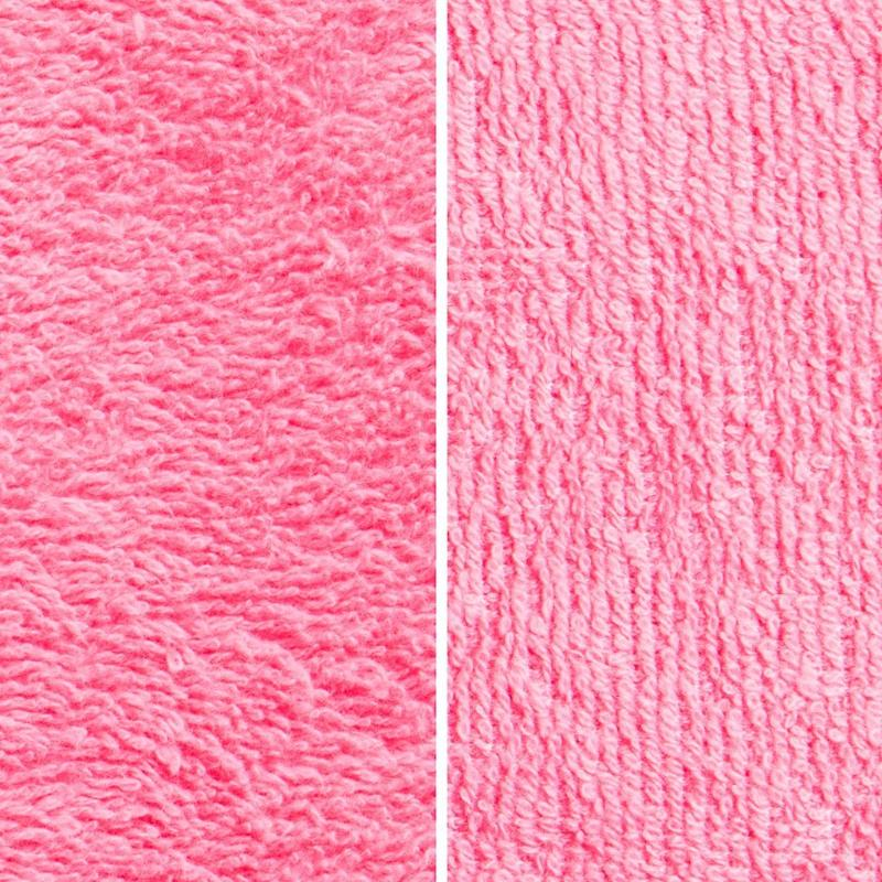 Side By Side Image Of Front And Back Of Pink Fabric Showing Longer Loops On Inside