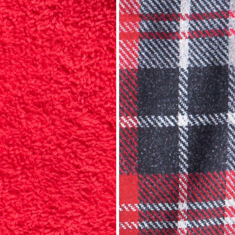 Side By Side Image Of Front And Back Of Tartan Fabric Showing Longer Loops On Inside