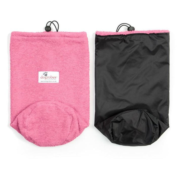 Flat Front View And Inside Out View Of Pink Drawstring Bag