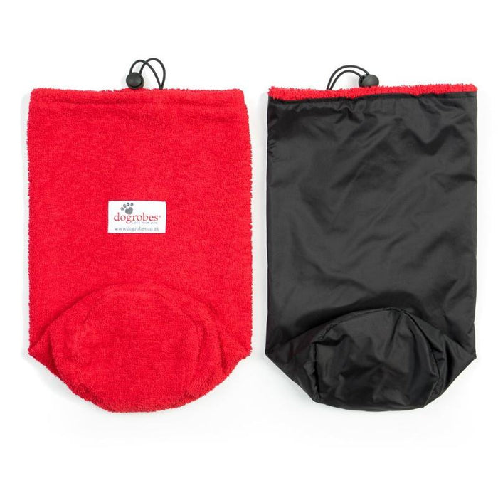 Flat Front View And Inside Out View Of Red Drawstring Bag