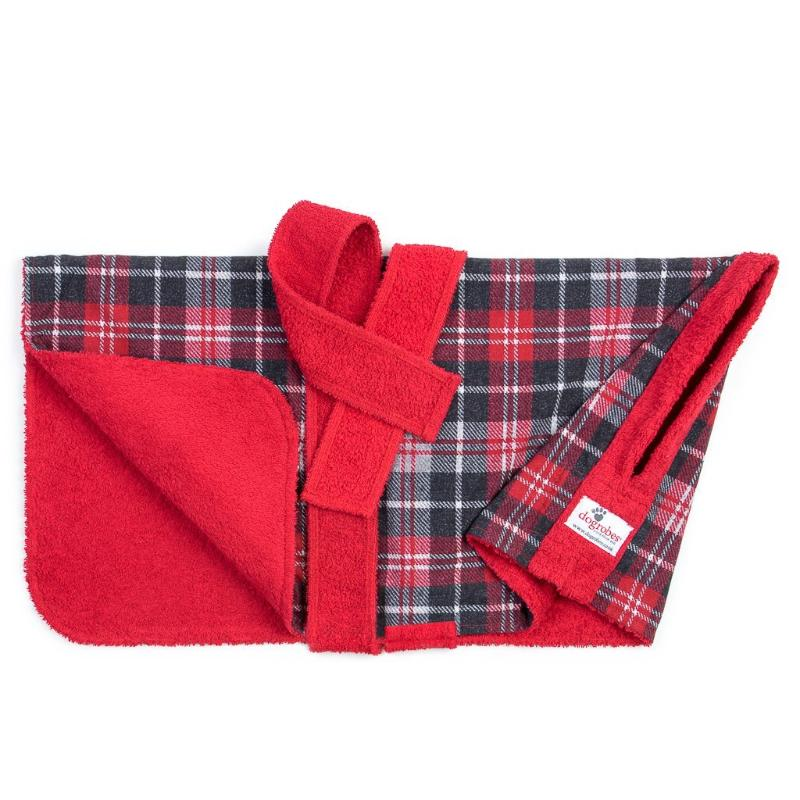 Tartan Dogrobe Showing Towelling Inside