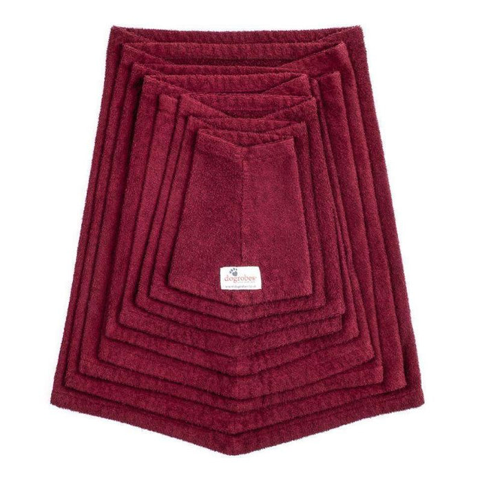 Stack of Burgundy Snoods From Size Mini To XXXL