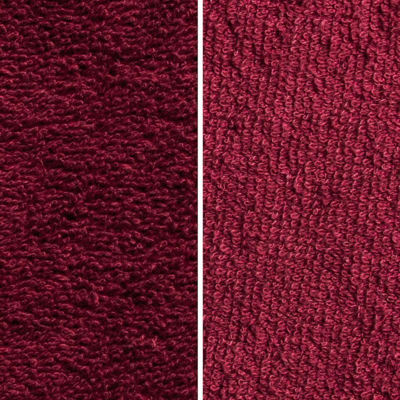 Side By Side Image Of Front And Back Of Burgundy Fabric Showing Longer Loops On Inside
