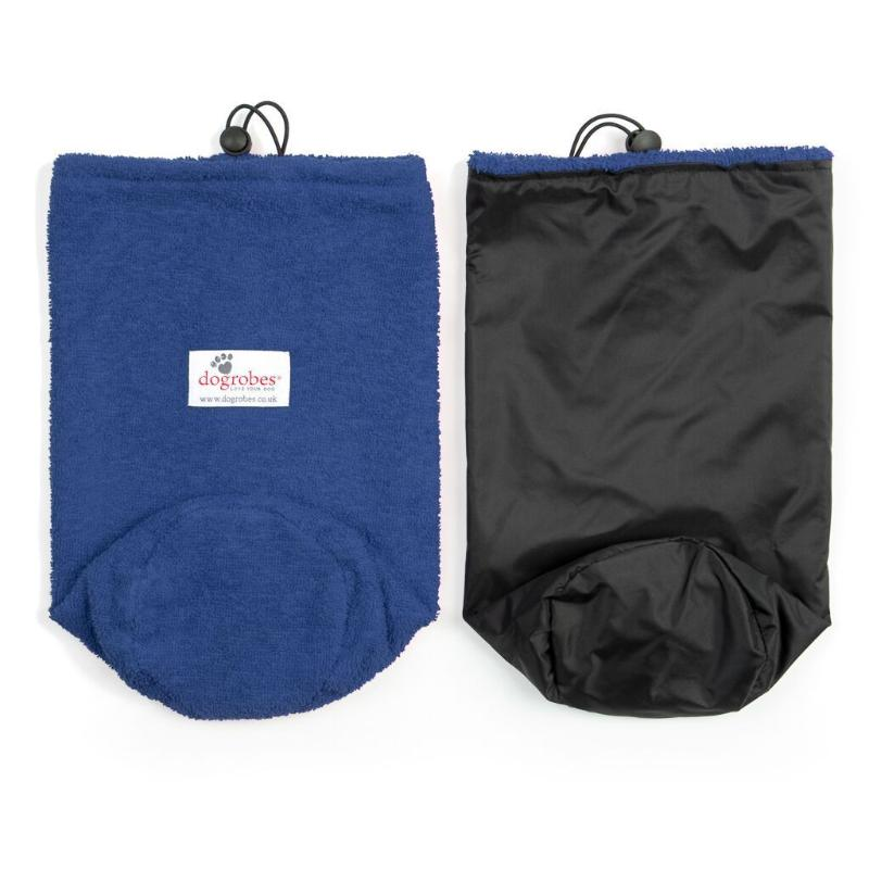 Flat Front View And Inside Out View Of Navy Drawstring Bag
