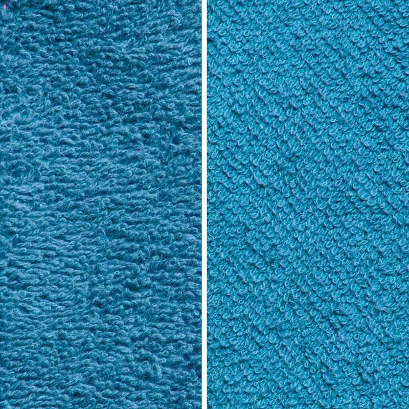 Side By Side Image Of Front And Back Of Teal Fabric Showing Longer Loops On Inside