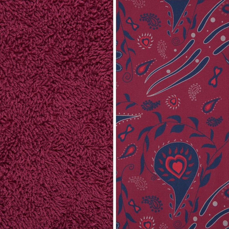 Side By Side Image Of Front And Back Of Paisley Fabric Showing Longer Loops On Inside