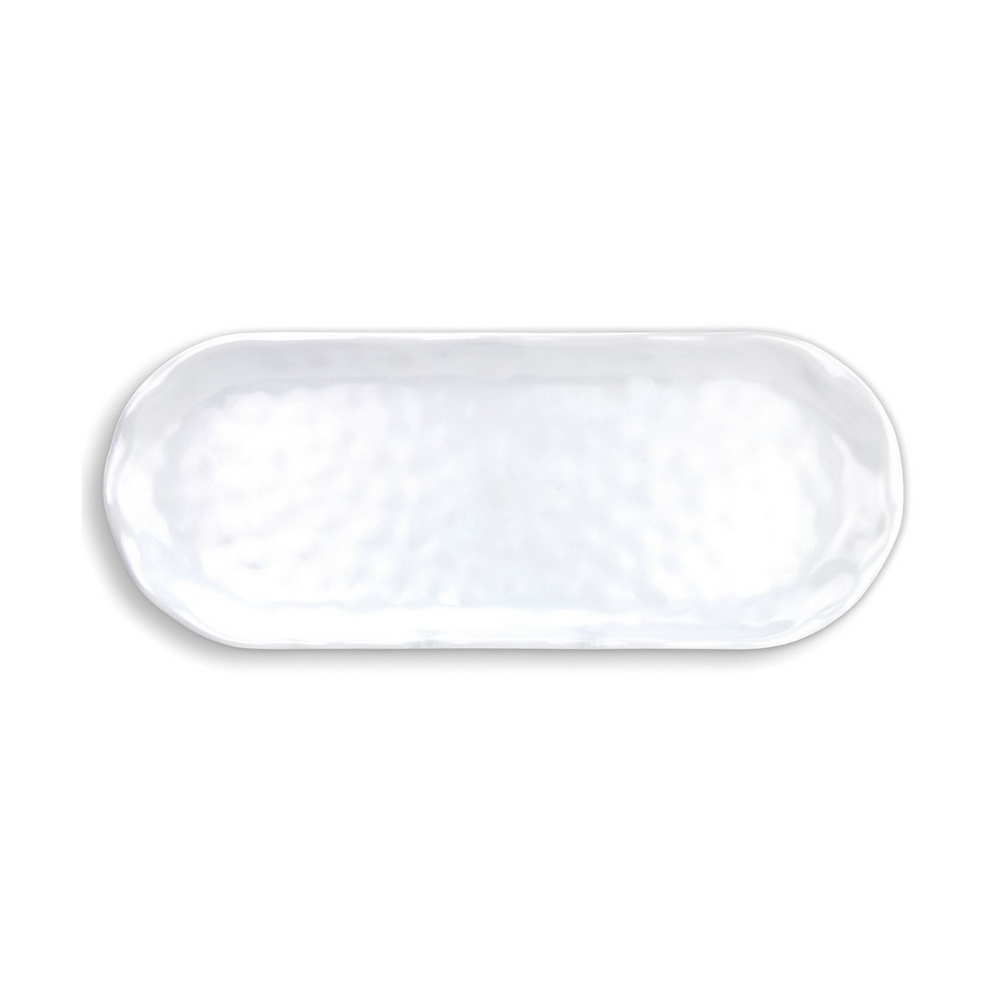 White on White Melamine Serveware Accent Tray