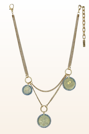 Triple Coin Denim Necklace
