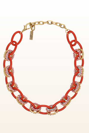 Load image into Gallery viewer, Bright Orange Chain Link Necklace