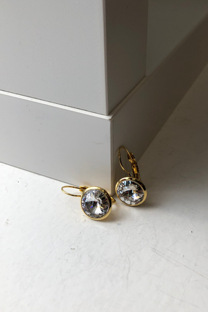 Load image into Gallery viewer, Bright Gold Rivoli Crystal Earring