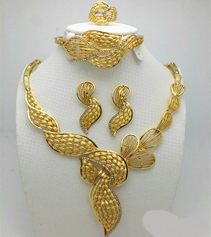 African Nigerian Gold Beads Wedding Jewelry Set Necklace Earrings Bracelet And Ring