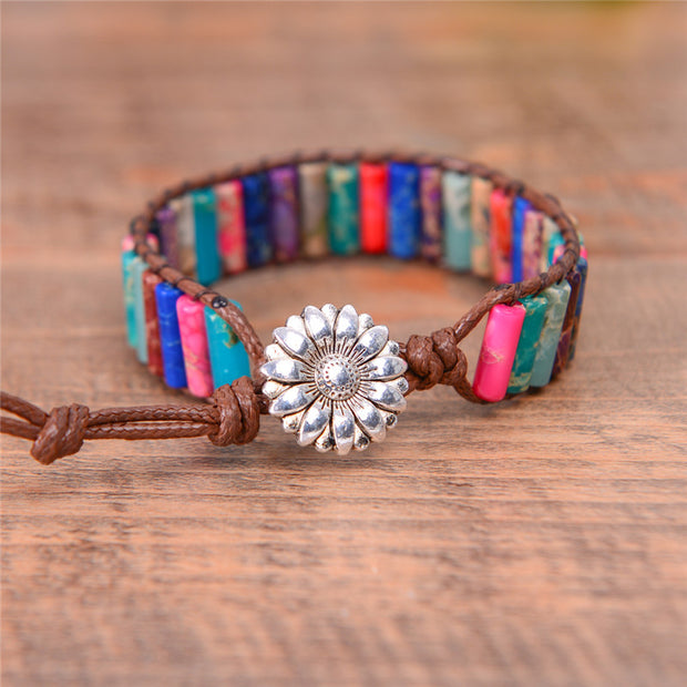 Women's Natural Stone Boho Gypsy Stone Friendship Bracelet Multilayer Beaded Bangle